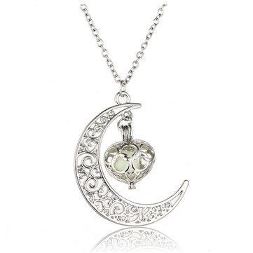 Collier Lumineux À Pendentif De Lune Avec Coeur