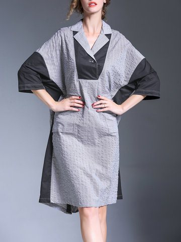 Miting Casual Loose Patchwork Grandes poches Femmes Robes