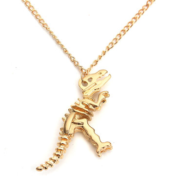 Vintage Dinosaur Skeleton Metal Chain Necklace