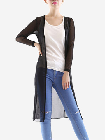 Women Long Sleeve See Through Pure Color Mesh Open Cardigan
