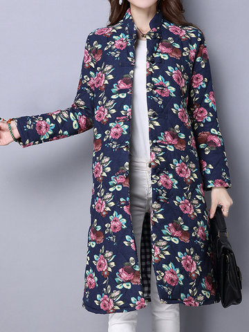 Vintage Women Floral Printed Long Sleeve Stand Collar Trench Coats