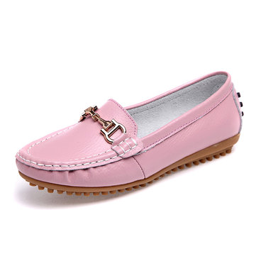 Metal Pure Color Leather Flat Casual Loafer For Women