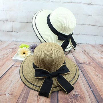 Women Fisherman Bowknot Straw Bucket Hats Large Brimmed Shading Sun Hat