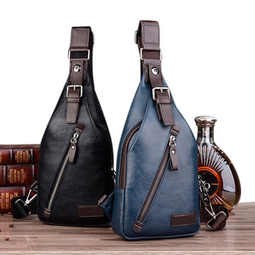 Men PU Leather Retro Portable Leisure Shoulder Bag Chest Bag Crossbody Bag
