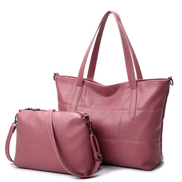 PU Leather Women Bags Elegant Pure Color Shoulder Bag Handbag
