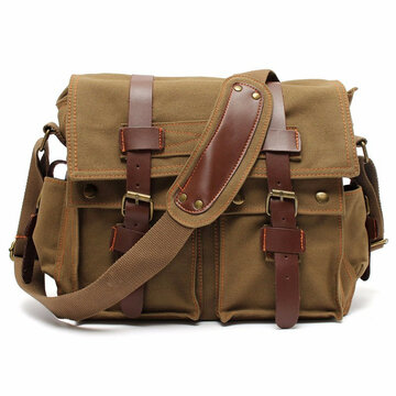 Men Vintage Canvas Crossbody Bag Military Large Shoulder Bag
