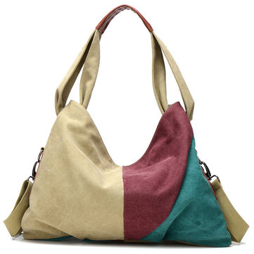 Women Canvas Patchwork Hitcolor Handbag Hobos Tote Bag Crossbody Bag