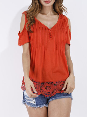 Women Lace Crochet V-neck Off Shoulder Short Sleeve T-shirts