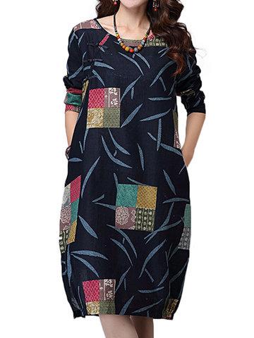O-Newe rétro bloc de couleur imprimé plaque bouton robe de poche pour les femmes