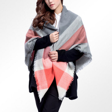 Women Ladies Plaid Soft Two-Sides Pattern Scarves Thick Warm Shawl Wrap Scarf