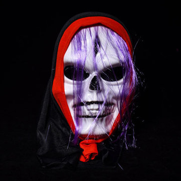 Halloween White Scary Grimace Mask With Wig