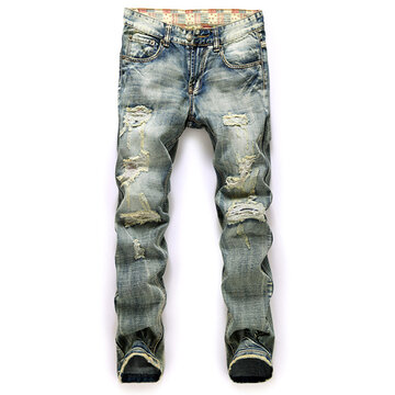 Eourpean Stytle Vintage Woren Out Stone Washed Denim Jeans for Men