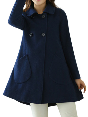 Casual Solid Long Sleeve Turn-down Collar Button Pocket Coat