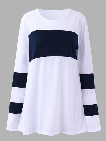 Casual Women Color Contrast O-Neck Pullover T-Shirt