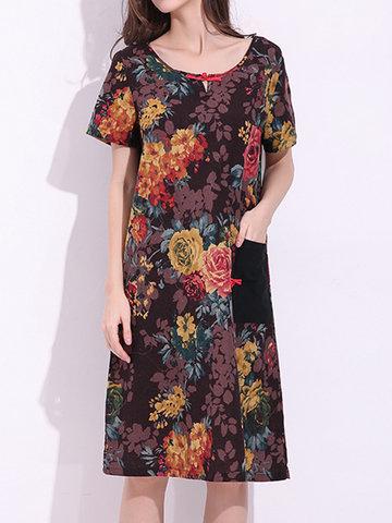 Китайский стиль с короткими рукавами карманные цветочные печатные платья для женщин