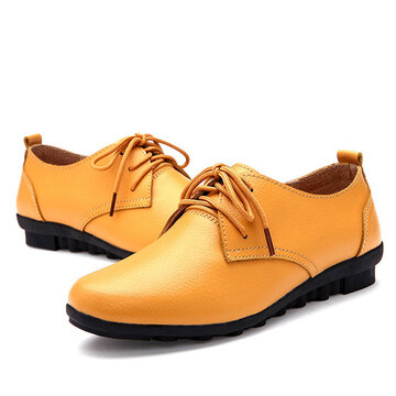Breathable Lace Up British Style Moccasins Casual Shoes For Women