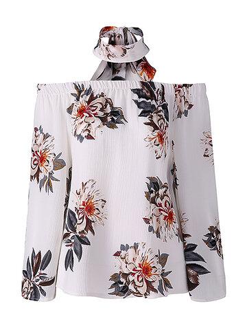 Сексуальная блузка с длинным рукавом с цветочным вырезом без плеч для женщин