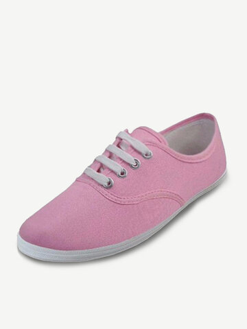 Pure Color Lace Up Canvas Flat Casual Shoes For Women