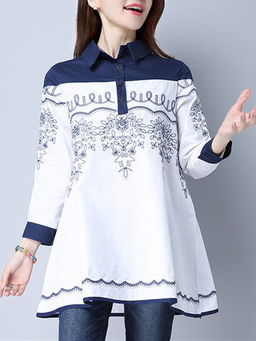 Women Embroidered Vintage Patchwork Nine Point Sleeve Blouses