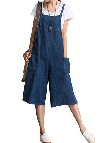 O-NEWE Pantalones de mono de pulóver suelto sólido con cintas con bolsillos para mujeres
