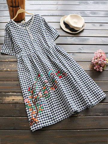 Casual Plaid Embroidery O-neck Short Sleeve Dresses