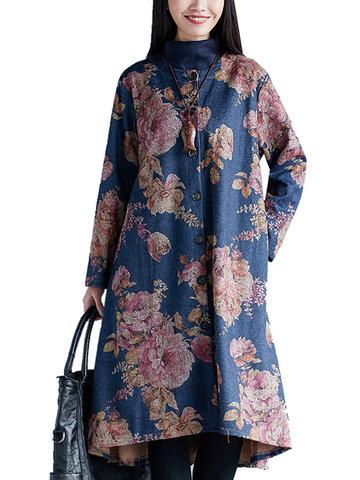 Mujeres Étnicas Floral Impreso Manga Larga Solo Breasted Coat