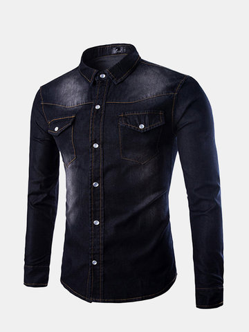 Plus Size Personality Double Chest Pockets Washed Long Sleeve Denim Dress Shirts for Men