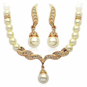 Sweet Crystal Simulate Pearl Bridal Jewelry Set