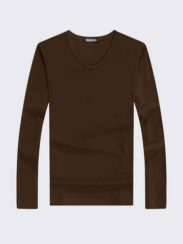 Casual Fashion Solid Color V-Neck Slim Fit Long Sleeve T-Shirt For Men