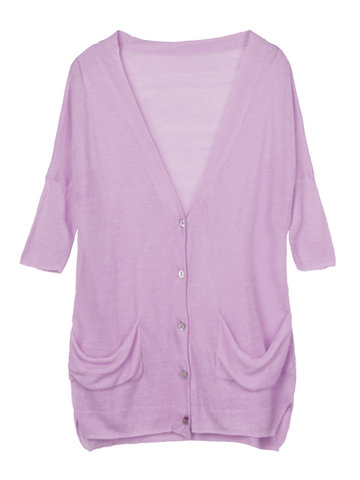 Casual Solid V-Neck Button Cardigan For Women