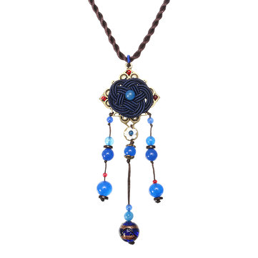 Ethnic Long Necklace Blue Crystal Flower Necklace for Women