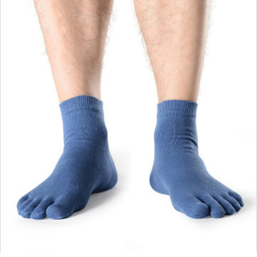 Breathable Antibacterial Healthcare Foot Massage Solid Color Five Toes Socks For Men