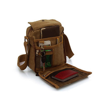 KAUKKO Men Vintage Canvas Multifunctional Crossbody Bag Casual Retro Outdoor Shoulder Bag
