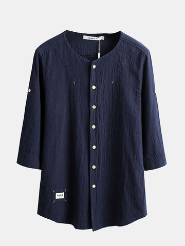 Vintage Chinese Style Casual Cotton Linen Half Sleeve O Neck Dress Shirts for Men