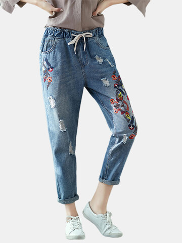 Vintage Embroidery Drawstring Waist Women Ripped Denim