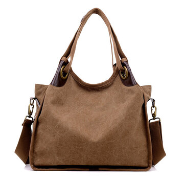 Women Large Capacity Canvas Casual Handbag Shopping Travel Shoulder Bags