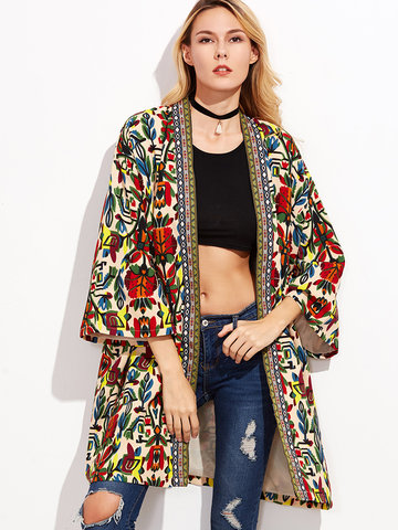 O-NEWE Tribal Printed Embroidered 3/4 Sleeve Long Cardigan Jacket For Women