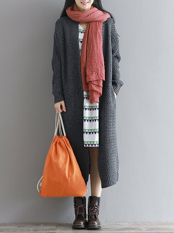 Pure Color Mid-Long Knitted Cardigans
