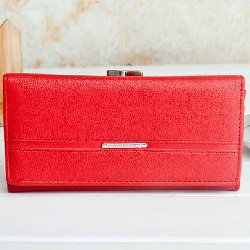 Women Folding Wallet Purse Pu Ms Wallet Long Section Clutch