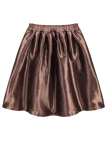Party Metallic A-Line Praça Alta cintura Stretch Clubwear Mini saia