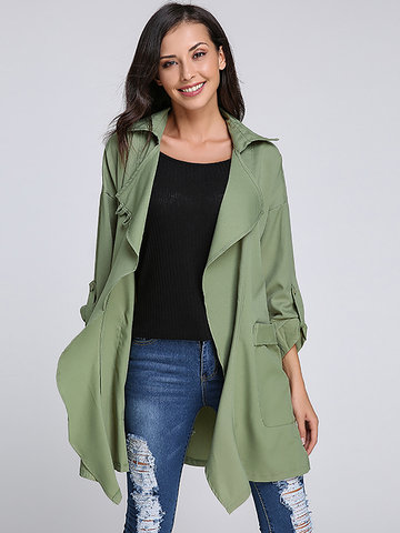 Casual Women Long Sleeve Drawstring Elastic Lapel Jacket