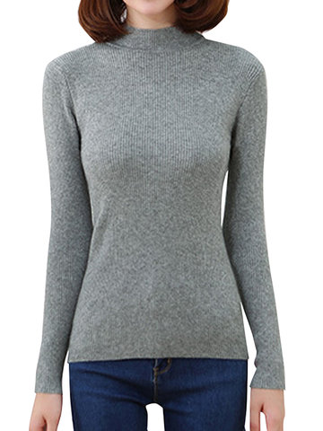 Women Casual Solid Color Turtleneck Long Sleeve Sweater