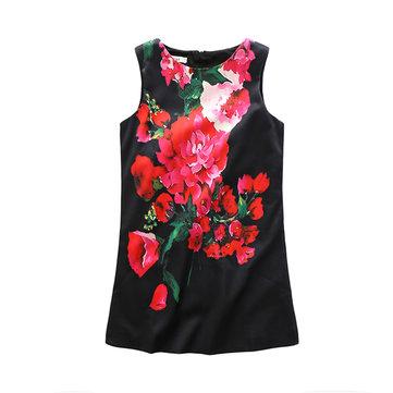 Floral Print Sleeveless O-neck Dress For Kids Girl