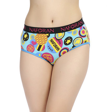 Women Lovely Colorful Priting Viscose Briefs Mid Waist Panties Underwear