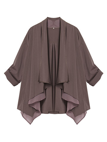Women Casual Pure Color Mid-Length Irregular Chiffon Cardigan
