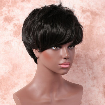 Black Short Curly Synthetic Hair Wigs