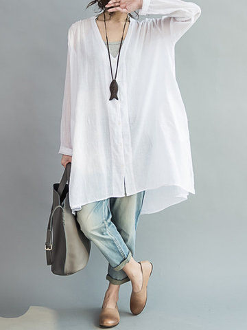 O-Newe Casual Women Loose White Cotton High Low Blouse
