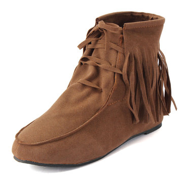 Women New Fashion Tassels Hidden Heel Ankle Boots