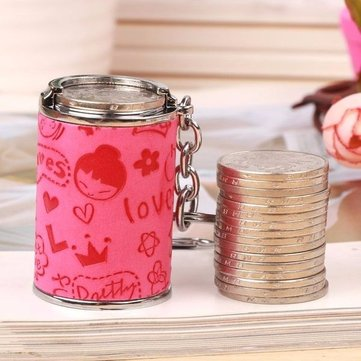 Alloy Cartoon Coin Change Hopper Tube KeyChain