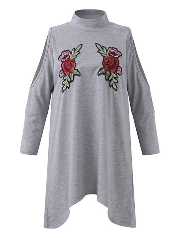 Embroidery Cold Shoulder Turtleneck Women T-shirts